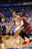 Miami Heat v Dallas Mavericks - Game Three, Dallas, TX -June 5: Dirk Nowitzki and Dwyane Wade Photographic Print by Garrett Ellwood