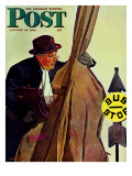"""Bass Fiddle at Bus Stop,"" Saturday Evening Post Cover, January 22, 1944 Reproduction procédé giclée par Howard Scott"