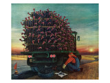 """Turkey Truck Has Flat,"" November 24, 1962 Giclee Print by Jan Balet"