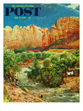 """Zion Canyon,"" Saturday Evening Post Cover, July 9, 1960 Giclee Print by John Clymer"