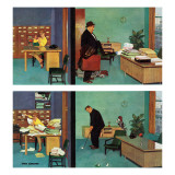 """Putting Time in the Office,"" February 18, 1961 Giclée-Druck von Richard Sargent"