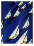 """Sailboat Regatta,"" June 29, 1940 Lámina giclée por Ski Weld"