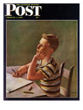 """Future Author,"" Saturday Evening Post Cover, February 9, 1946 Giclee Print by Alexander Brook"