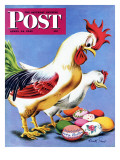 &quot;Easter Eggs and Chickens,&quot; Saturday Evening Post Cover, April 24, 1943 Giclee Print by Ken Stuart
