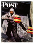 """Flight Controller on Aircraft Carrier,"" Saturday Evening Post Cover, June 12, 1943 Giclee Print by Mead Schaeffer"