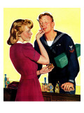 """Sailor Sniffing Perfume,"" January 17, 1942 Reproduction procédé giclée par John Newton Howitt"