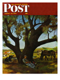 """Sleeping Farmer,"" Saturday Evening Post Cover, August 23, 1947 Giclee Print by John Atherton"