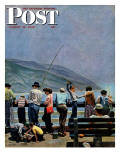 """Pier Fishing,"" Saturday Evening Post Cover, August 13, 1949 Giclee Print by John Falter"