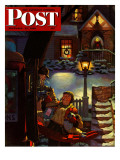 &quot;Rocking Horse Delivery,&quot; Saturday Evening Post Cover, December 22, 1945 Giclee Print by James R. Bingham