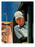 """Freight Train Engineer,"" June 3, 1944 Giclee Print by Fred Ludekens"