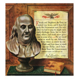 """Benjamin Franklin, 1947,"" January 18, 1947 Giclee Print by John Atherton"