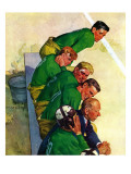 """Team on Bench,"" November 23, 1940 Giclee Print by Emery Clarke"