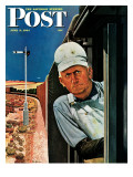 """Freight Train Engineer,"" Saturday Evening Post Cover, June 3, 1944 Giclee Print by Fred Ludekens"