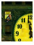 &quot;Giant Clock on New Year&#39;s Eve,&quot; January 1, 1949 Giclee Print by Constantin Alajalov