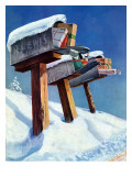 """Mailboxes in Snow,"" December 27, 1941 Giclee Print by Miriam Tana Hoban"