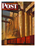 """Boxcars at Grain Elevators,"" Saturday Evening Post Cover, October 4, 1947 Giclee Print by John Atherton"
