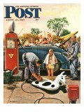 """Inflating Beach Toy,"" Saturday Evening Post Cover, August 20, 1949 Giclee Print by Stevan Dohanos"