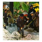 """Shoveling Floral Shop Sidewalk,"" February 28, 1948 Giclee Print by John Falter"
