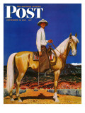 """Cowboy on Palomino,"" Saturday Evening Post Cover, September 18, 1943 Giclee Print by Fred Ludekens"