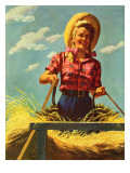 """Woman Driving Hay Wagon,"" August 14, 1943 Giclee Print by Ray Prohaska"