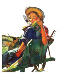 """Gardener in Wheelbarrow,"" May 10, 1941 Giclee Print by Dominice Cammerota"