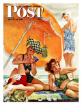 """Card Game at the Beach,"" Saturday Evening Post Cover, August 28, 1943 Giclée-Druck von Alex Ross"