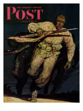 """""""Night Attack,"""" Saturday Evening Post Cover, February 20, 1943 Giclee Print by Mead Schaeffer"""