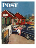 """Flat Tire at the Commuter Station,"" Saturday Evening Post Cover, November 26, 1960 Giclee Print by Amos Sewell"