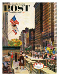 &quot;Michigan Avenue, Chicago,&quot; Saturday Evening Post Cover, October 15, 1960 Reproduction proc&#233;d&#233; gicl&#233;e par John Falter