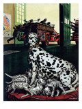 """Dalmatian and Pups,"" January 13, 1945 Giclee Print by Stevan Dohanos"