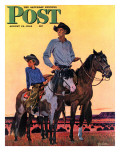 """""""Surveying the Ranch,"""" Saturday Evening Post Cover, August 19, 1944 Lámina giclée por Fred Ludekens"""