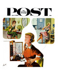 """Eavesdropping Operator,"" Saturday Evening Post Cover, April 7, 1962 Giclee Print by Constantin Alajalov"