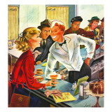 """Flirting Soda Jerk,"" October 11, 1947 Giclee Print by Constantin Alajalov"