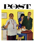 """Baby's First Shot,"" Saturday Evening Post Cover, March 3, 1962 Giclee Print by Richard Sargent"