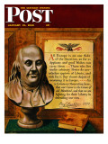 """""""Bust of Franklin,"""" Saturday Evening Post Cover, January 15, 1949 Giclee Print by John Atherton"""