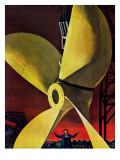 """Ships Propeller,"" February 26, 1944 Giclee Print by Fred Ludekens"