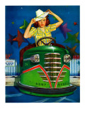 """Bumper Cars,"" June 22, 1940 Giclee Print by Albert W. Hampson"