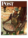 """Shrimpers,"" Saturday Evening Post Cover, October 25, 1947 Giclee Print by Mead Schaeffer"