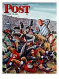 &quot;Football Pile-up,&quot; Saturday Evening Post Cover, October 23, 1948 Giclee Print by Constantin Alajalov
