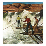 """Salmon Fishing,"" July 17, 1948 Giclee Print by John Atherton"