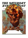 """Re -print of ""Bronze Lincoln"","" Saturday Evening Post Cover, February 1, 1976 Giclee Print by Joseph Christian Leyendecker"