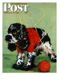 &quot;Butch and Knitted Sweater,&quot; Saturday Evening Post Cover, September 28, 1946 Reproduction proc&#233;d&#233; gicl&#233;e par Albert Staehle