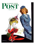 """WAC Admires Hat,"" Saturday Evening Post Cover, September 26, 1942 Reproduction procédé giclée par Gilbert Bundy"
