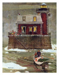 &quot;Christmas at the Lighthouse,&quot; December 28, 1946 Gicl&#233;e-Druck von Mead Schaeffer