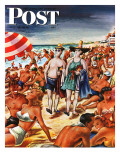 """Palefaces at the Beach,"" Saturday Evening Post Cover, July 27, 1946 Giclee Print by Constantin Alajalov"
