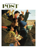 """Yale vs. Harvard,"" Saturday Evening Post Cover, November 19, 1960 Reproduction procédé giclée par George Hughes"