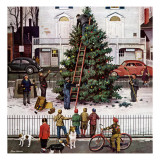 """Tree in Town Square,"" December 4, 1948 Giclee Print by Stevan Dohanos"