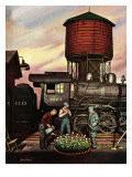 """Trainyard Flower Garden,"" August 9, 1947 Giclee Print by Stevan Dohanos"