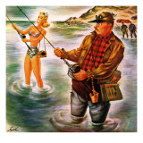 """Bikini Surf Fisher,"" July 26, 1947 Giclee Print by Constantin Alajalov"