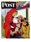"""Showing Off Her Ring,"" Saturday Evening Post Cover, January 22, 1949 Giclee Print by George Hughes"